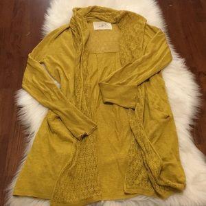 Angel of the North Mustard Yellow Cardigan Linen